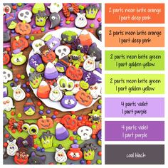 How to make Halloween M&M icing colors - a cookie decorating icing color palette with formulas and ratios for mixing icing colors ~ LilaLoa Icing Color Chart, Frosting Colors, Color Mixing Chart, Colour Pallette, Colour Schemes, Color Combos, Cookie Decorating Icing, Cookie Icing, Halloween Cookies