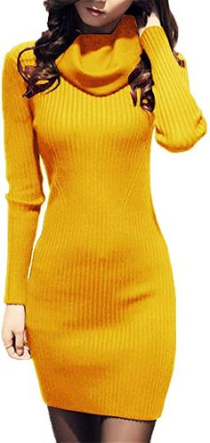 17c23b799bc v28 Women Knit Cowl Neck Elastic Long Sleeve Stretchable Slim Knee Sweater  Dress (Size2-8