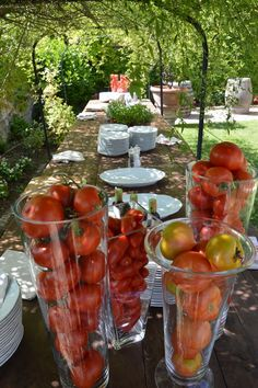 decorations details: different tomatoes in vases #cherry #tomatoes #vases