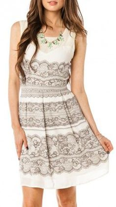 Lace Print Dress perfect for wedding attendee