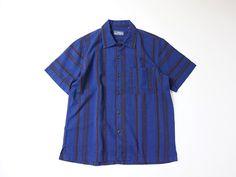 ストライプ久留米絣ボックス半袖シャツ