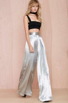 Solace London Stellis Wide-Leg Trouser - Silver - The Party Shop  This 90's…
