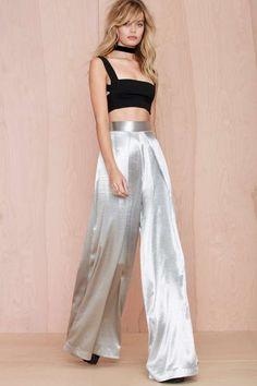 Solace London Stellis Wide-Leg Trouser - Silver - The Party Shop  This 90's…