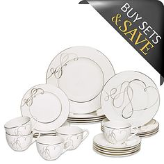 Celebrate true love and timeless style with the romantic Love Story Collection from Mikasa. Graceful bands of platinum wind their way across each piece and form delicate hearts on accent pieces bringing the beauty of love to your table. Dinnerware Sets Walmart, Dinnerware Sets For 12, Square Dinnerware Set, Vases, Vase Deco, Romantic Love Stories, Noritake, Mikasa, White Porcelain
