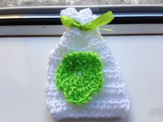 Flowery Bag, Wool Flower Bag, Small White Bag, Crocheted Bag, Small Wool Bag, Make Up Bag, Lavender Bag, Gift Bag, White Make Up Bag