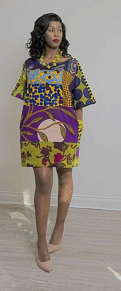 African print Carla Purple and yellow oversized Tunic Dress Ankara robe africaine vêtements robe africaine African Print African Fashion Designers, African Print Fashion, Africa Fashion, Fashion Prints, Fashion Styles, 50 Fashion, Fashion Clothes, Fashion Outfits, African Print Dresses