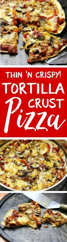 We make these at least once a week! Thin and crispy tortilla crust pizzas are the perfect way to get your pizza fix QUICK, with a fraction of the fat, carbs and calories. Works great with dairy-free cheese!
