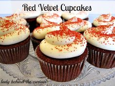 Lady-Behind-The-Curtain-Red-Velvet-Cupcakes // recipe for vanilla bean cream cheese frosting. she has 30 some different frosting recipes...mmmm