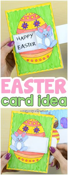 Hidden Message Easter Card Idea for Kids to Make #Eastercraftsforkids #papercraftsforkids #DIYcardideas