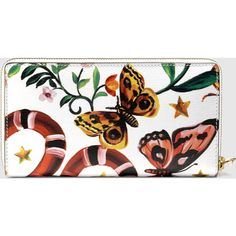 Gucci Garden Exclusive Zip Around Wallet ($690) ❤ liked on Polyvore featuring bags, wallets, genuine leather wallet, floral print wallet, zip around wallet, leather bags and white wallet