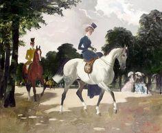 Exercising in Hyde Park by Doris Zinkeisen (Scottish 1898 – 1991)