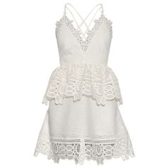 Self-portrait Lace-peplum open-back dress ($248) ❤ liked on Polyvore featuring dresses, vestidos, short dresses, white, white lace cocktail dress, mini dress, short white cocktail dress, lace mini dress and white open back dress