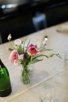 Milk bottle flowers