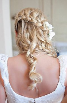 Waterfall braid with loose curls