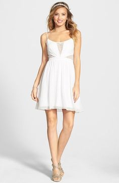 Hailey Logan Illusion Bodice Skater Dress (Juniors) available at #Nordstrom