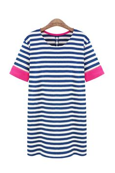 a stripe dress with pops of pink