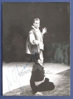 Bulgarian bass (1929-2004), one of the most famous bass singers of the postwar period. Signed Photo as Don Giovanni, 4 x 6 inches, Piccagliani photo, stamped on verso by photographer.