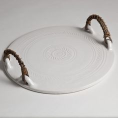 Hand Thrown White Ceramic Cheese Board   The Maker Place