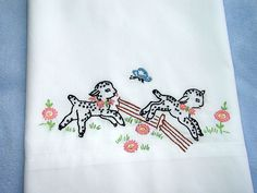 COUNTING SHEEP - hand embroidered pillowcase with vintage embroidery design