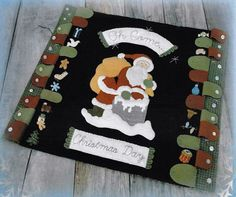 Wool Applique Pattern, Oh Come Christmas Day, Wool Table Mat, Advent Calendar, Christmas Decor, Santa Claus, Nutmeg Hare, PATTERN ONLY by farmersattic