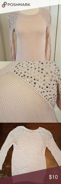 Light pink sheer Express top w/embellished shoulde Light pink Express top is see through. A crochet type material with rhinestone embellishments on the shoulders. Very cute top! Worn and washed,  in great shape. Express Tops Blouses