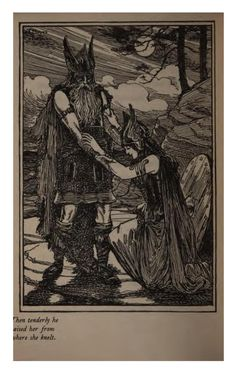Wotan and Brunnhilde   https://ia902306.us.archive.org/BookReader/BookReaderImages.php?zip=/14/items/valkyriesaroman00bensgoog/valkyriesaroman00bensgoog_jp2.zip&file=valkyriesaroman00bensgoog_jp2/valkyriesaroman00bensgoog_0257.jp2&scale=4&rotate=0