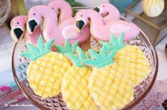 pineapple and flamingo sugar cookies