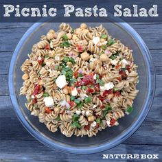 1 package whole wheat pasta (we used rotini) 1 red onion, finely diced 2 green bell peppers, diced 1 can of chickpeas, drained & rinsed 6 oz sun-dried tomatoes, julienned 6 oz feta (omit for vegan version or if this will sit in the sun for awhile) 1/3 cup red wine vinegar 2 TBSP fresh-squeezed lemon juice 1/2 cup extra virgin olive oil 1 tsp garlic powder 2 tsp dried oregano salt & pepper to taste