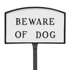 """Montague Metal Products Arch Beware of Dog Statement Address Plaque Finish: White/Black, Size: 13"""" H x 21"""" W x 0.25"""" D"""