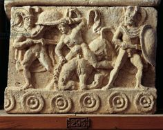 Alabaster urn with relief depicting Achilles ambushing and killing Troilus, son of Priam, Etruscan civilization. Carthage, Pisa, Small Sculptures, Stargate, North Africa, Ancient Art, Sculpture Art, Museum, Statue