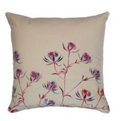 Clare Robinson Astrantia Blue Velvet Cushion: This beautiful large hand made luxury velvet cushion by Scottish artist Clare Robinson, features starry and elegant Astrantia's in inky blues, fuchsia and a touch of burnt orange on a pale blue ground.  Inspired by Clare's vibrant and expressive, loose style floral watercolours.