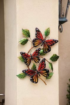 Wall Décor,Butterflies,Glass Wall Décor,Glass and Inches by… Quilling Butterfly, Butterfly Wall Art, Glass Butterfly, Butterfly Crafts, Monarch Butterfly, Butterflies, Flower Crafts, Clay Crafts, Diy And Crafts