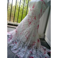 zombie PROM dress CARRIE bride blood splatter white lace splattered... ($40) ❤ liked on Polyvore featuring dresses