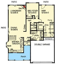 First Floor Plan of Ranch House Plan 90963 wrap around porch from sliding door at dining to sliding door at living room 2 Bedroom House Plans, Cabin House Plans, Cottage Floor Plans, Ranch House Plans, Craftsman House Plans, Modern House Plans, Small House Plans, House Floor Plans, Small Tiny House