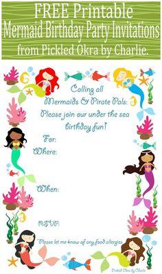 Pickled Okra by Charlie: Mermaid Bithday Party Invitations, Free Printable