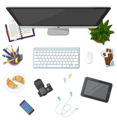 Free design illustrations – computers, tablets, camera, stationery and more. Beautiful flat design graphics for your projects. Flat Design Illustration, Business Illustration, Digital Illustration, Graphic Illustration, Design Illustrations, Collage Background, Background Design Vector, Web Design, Flat Design Icons