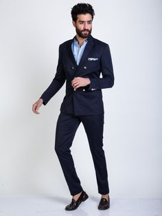 Buy Mens Blazers Online|Navy Blue Blended Blazers|Mr Button