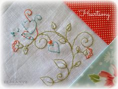 """""""Heartsong"""" inside Month 2 of the Jenny of Elefantz Stitchery Club. It's so easy to join!"""