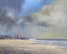"""'Boats on Deal Beach' by Vernon Lintern  Oil on canvas - Unframed  18""""(w) x 14""""(h) / 451mm x 352mm  An original painting of fishing boats in the distance on Deal Beach in Kent.  This painting has finished edges so that it can be hung both with and without a frame.  Buy this painting online at www.originalaffordableart.co.uk"""