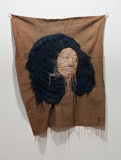Sewings on fabric and photographs by Yoon Ji Seon at Yossi Milo Gallery