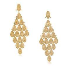 Bling Jewelry Gold Teardrop Micro Pave CZ Chandelier Earrings Omega Back