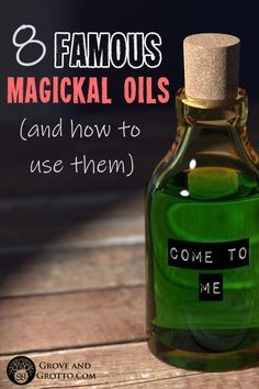 Eight famous magickal oils (and how to use them) - Zauberhaft - A row of little potions with colorful names and indescribable fragrances: Uncrossing Oil, Black Cat - Herbal Magic, Herbal Oil, Magic Herbs, Annointing Oil, Potions Recipes, Love Oil, Infused Oils, Candle Magic, Essential Oils
