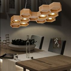 298.50$ Watch now - http://ali9r7.worldwells.pw/go.php?t=32627013488 - New Art Deco Honeycomb Wood Pendant Light Modern LED Suspension Luminaire Lamparas Colgantes For Parlor Living Room Restaurant 298.50$