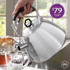 Enjoy classic #teatime with #modern comforts! #Tea lovers won't want to miss this special offer on our #WhistlingKettle. Steaming Cup, Princess House, Kettle, Tea Time, Stainless Steel, Ecommerce, Modern, Kitchen Tools, Classic