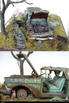 Derelict Chevy with effects produced from hairspray (see Fine Scale Modeler Magazine Nov 2008 Issue)