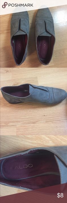 Grey suede slip-ons Grey suede shoes have half-inch heel. They slip on and off. Size marker is missing, but fits a size 9. Good shoes to leave at the office when you want something flat and stylish. Aldo Shoes Flats & Loafers