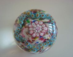 Vintage Cane Millefiori on Crushed Glass Paperweight Blues & Reds