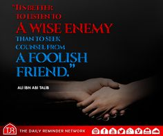 """It is better to listen to a wise enemy than to seek counsel from a foolish friend."" [Ali ibn Abi Talib]"