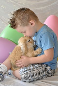 Easter photo with live bunny