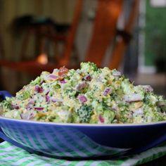 broccoli salad - healthier version: sub nonfat Greek yogurt for mayo